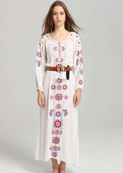 Josephine Floral Embroidery Maxi Dress