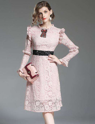 Josie Bowknot Collar Lace Slim Dress