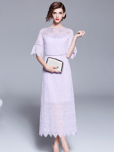 Judy Flare Sleeve High Waist Lace Maxi Dress