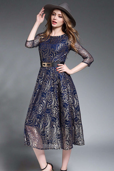 Julissa Flowers Lace Maxi Dress (DARK BLUE)