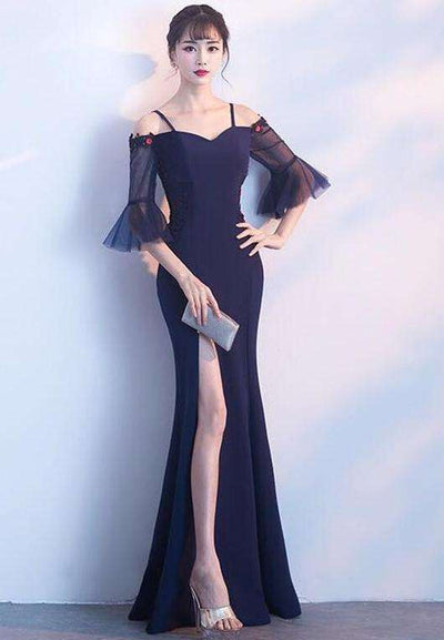 Kaitlyn Boat Neck Gauze Flare Sleeve Long Dress