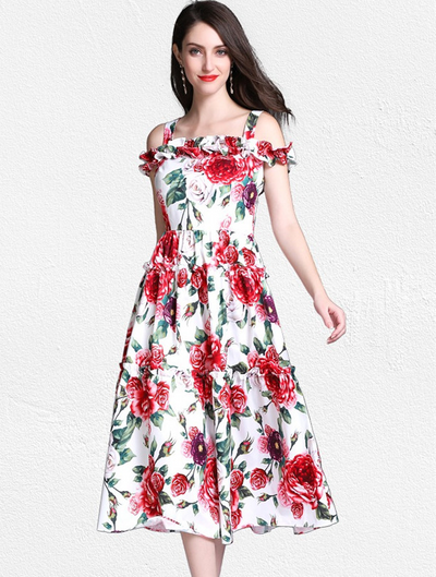 Kathy Flouncing Boat Neck Rose Floral Dress