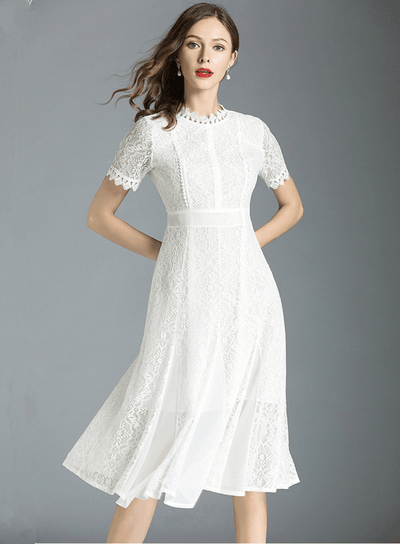 Katrinka High Waist Chiffon Splicing Lace Dress