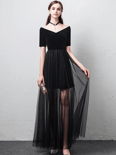 Kensley Boat Neck High Waist Gauze Splicing Long Dress