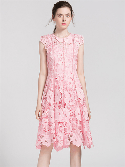 Khryzel Pink Hollow Out Lace Floral Tank Dress