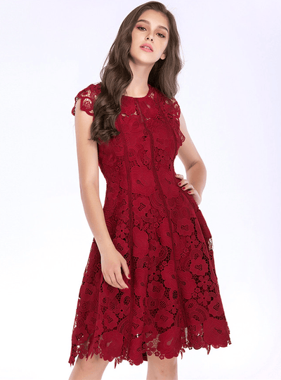 Khryzel Wine Red Floral Hollow Out Lace Midi Dress