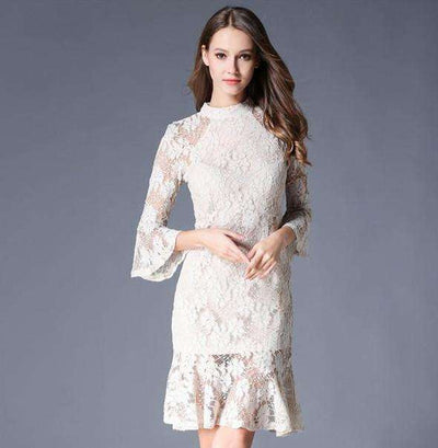 Kinley Fishtail Flare Sleeve Lace Slim Dress