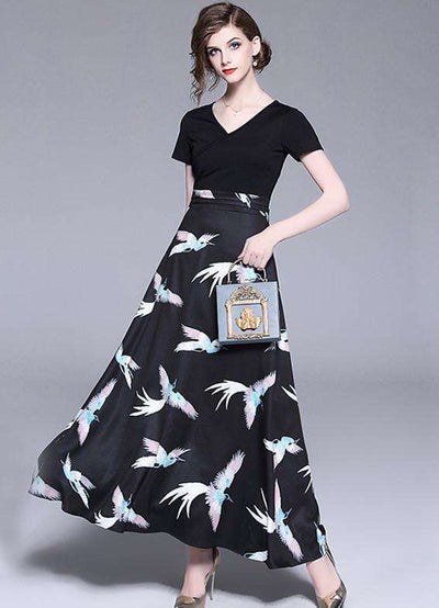 Krishna Fashion Birds Print High Waist Maxi Dress