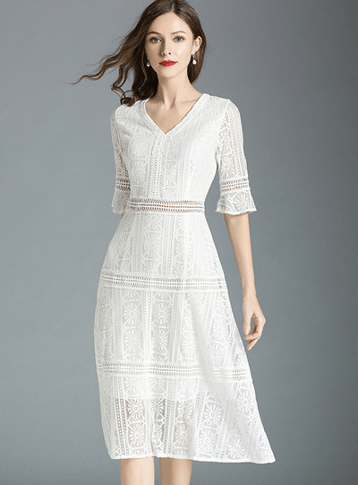 Kristina V-neck Lace Hollow Out Flare Sleeve Dress