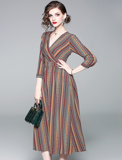 Lacey V-neck Colorful Stripes Long Dress