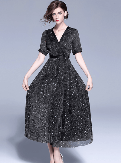 Lecar Tie Waist Starry V-neck Long Dress