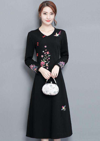 Lila Floral Embroidery Slim Long Dress