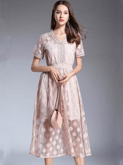 Liz V-neck Elastic Waist Dots Lace Long Dress