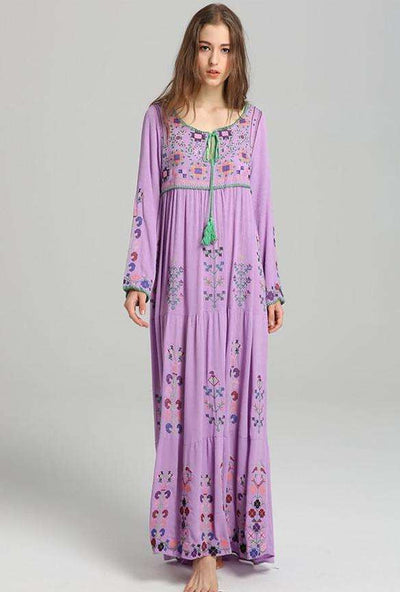 Londyn Bohemian Floral Embroidery Linen Dress