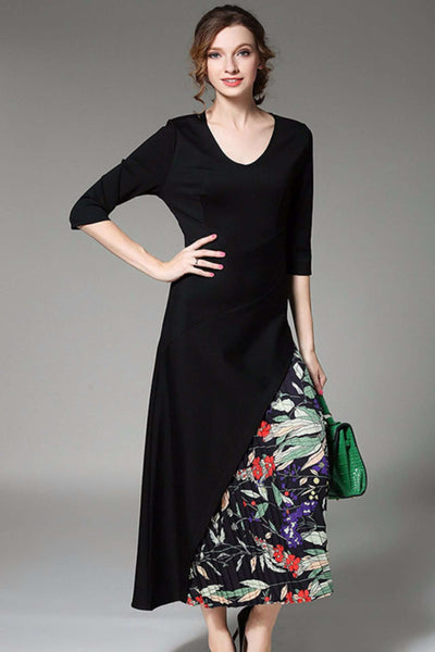 Lyric V-neck Pleated Chiffon Flowers Long Dress
