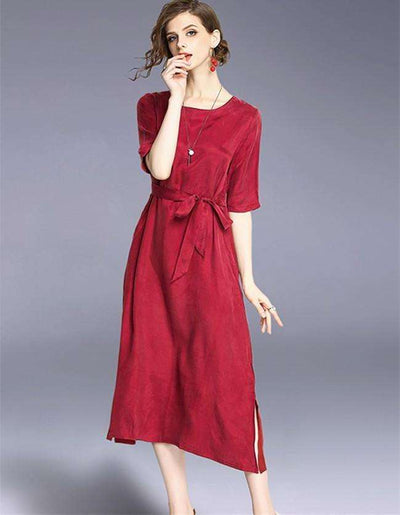 Mabel Tie Waist Loosen Silk Long Dress