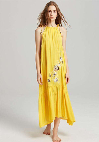 Margaret Floral Embroidery Linen Maxi Dress
