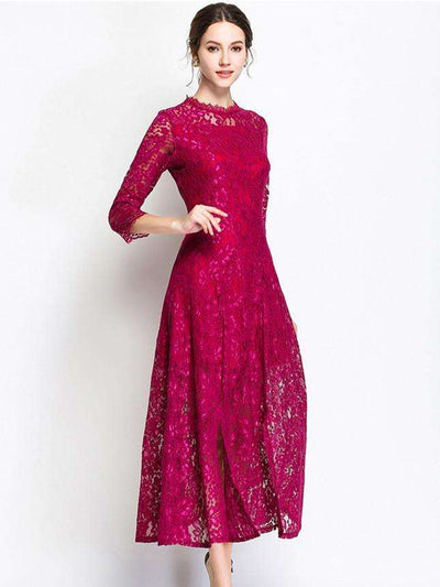 Mariane Slim Waist Lace Floral Maxi Dress