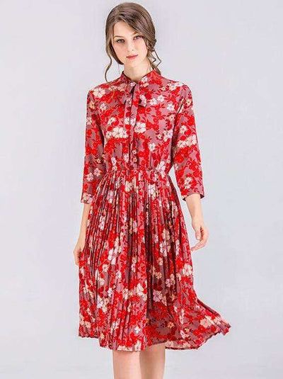 Marley Floral Elastic Waist Pleated Dress