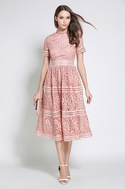 Marybeth High Waist Hollow Out Lace Dress