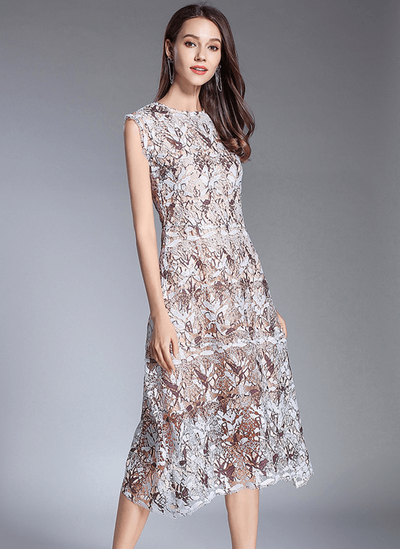 May Slim Waist Lace Flowers Tank Dress