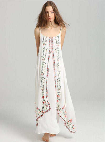 Mckenzie Floral Embroidery Flouncing Linen Maxi Dress
