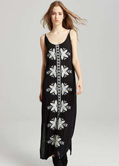 Nicole Bohemian Embroidery Split Straps Maxi Dress