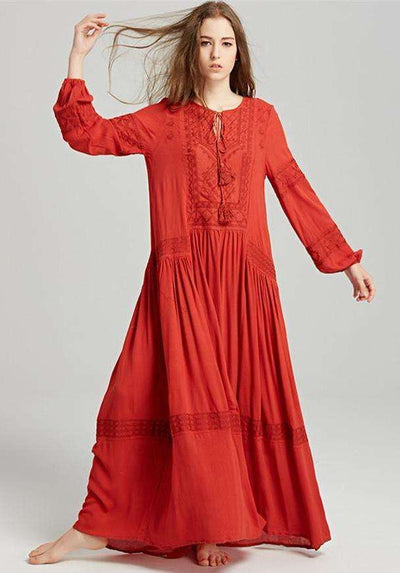 Norah Embroidered Linen Maxi Dress