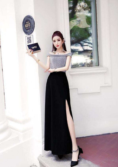Olive Boat Neck Splicing Slim Prom Dress