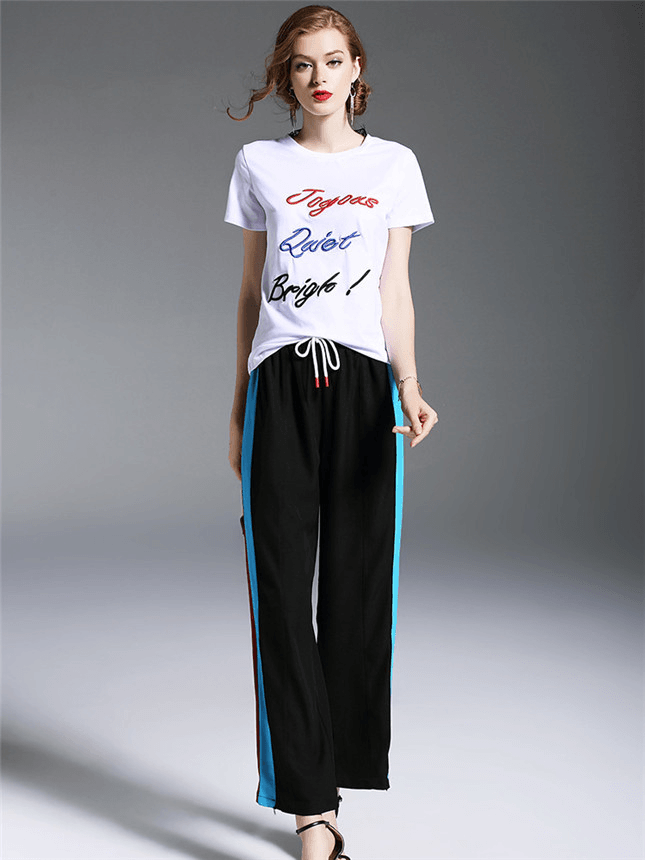 c3db11cb7716d Pamela Letter Embroidery Tee with Elastic Waist Long Pants