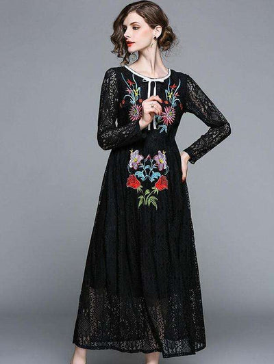 Paris Floral Embroidery Lace Maxi Dress