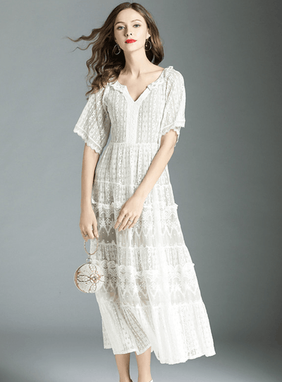 Patty V-neck Lace Floral Long Dress