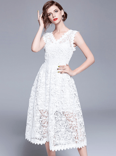 Pearl Slim Waist V-neck Hollow Out Lace Tank Dress