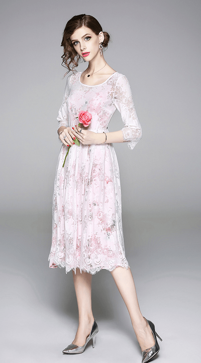 Pristine Floral Lining with Lace A-line Dress