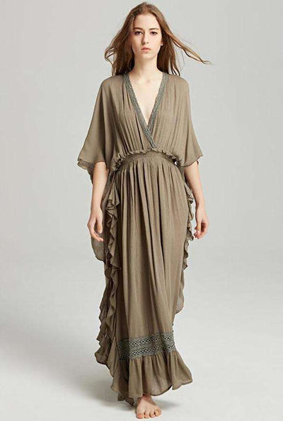 Rachel Plunging V-neck Backless Flouncing Maxi Dress