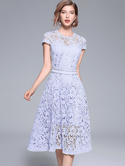 Rae Slim Waist Lace Hollow Out Floral Dress