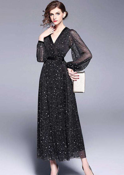 Raelynn Starry V-neck Puff Sleeve Gauze Maxi Dress