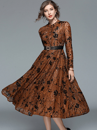 Robelyn Lace Floral Long Sleeve Maxi Dress