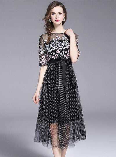 Shing Floral Embroidery Dots Gauze Long Dress