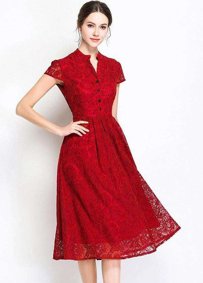 Sonia Retro V-neck Floral Lace Dress