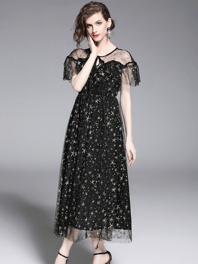Sylvia High Waist Gauze Gilding Stars Maxi Dress