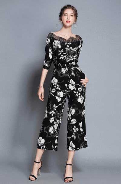 Tiya Lace Boat Neck Floral Long Jumpsuit
