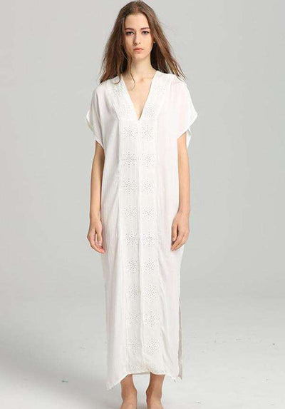 Trinity V-neck Hollow Out Loosen Long Dress