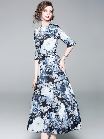 Willa High Waist Round Neck Floral Maxi Dress