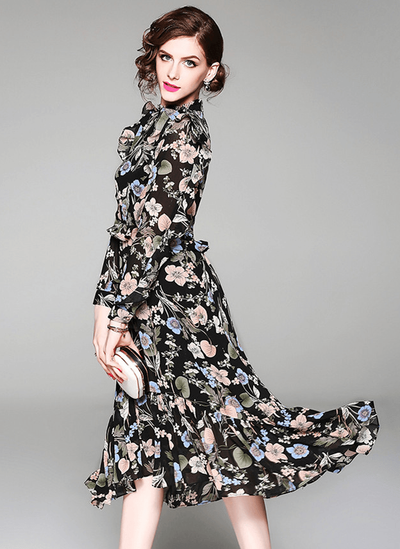Wilma Elastic Waist Floral Flouncing Chiffon Dress