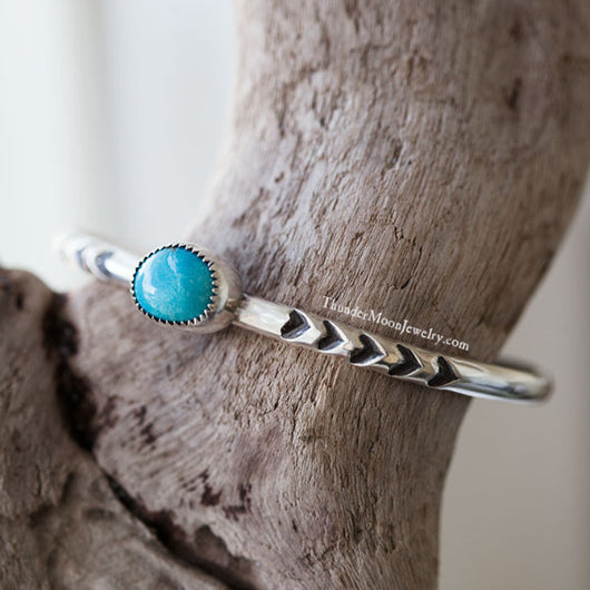 Turquoise Mountain Turquoise - Sterling Silver Cuff