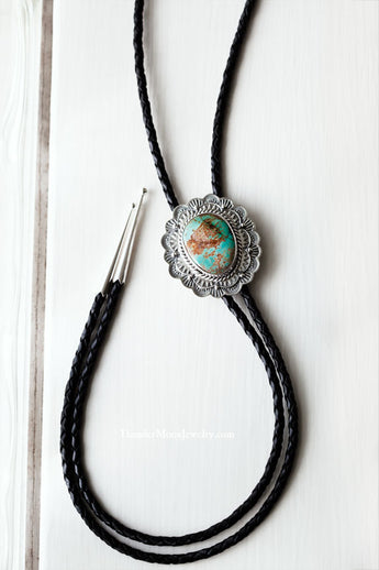 Pilot Mountain Turquoise - Sterling Silver - Leather Bolo Tie Necklace