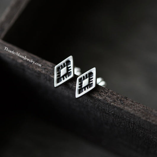 Sterling Mini Diamond Shaped Stamped Earrings