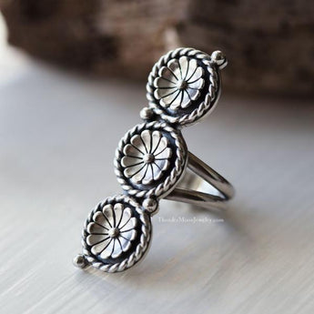 Sterling Silver Flower Ring - Size 7