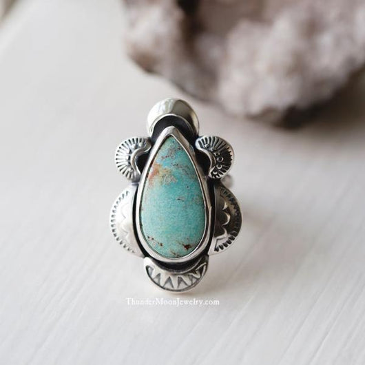 #8 Mine Turquoise - Sterling Silver Ring - Size 6